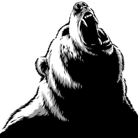 engrave isolated bear illustration sketch linear art Imagens - 122310581