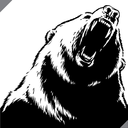 engrave isolated bear illustration vector sketch linear art Ilustração