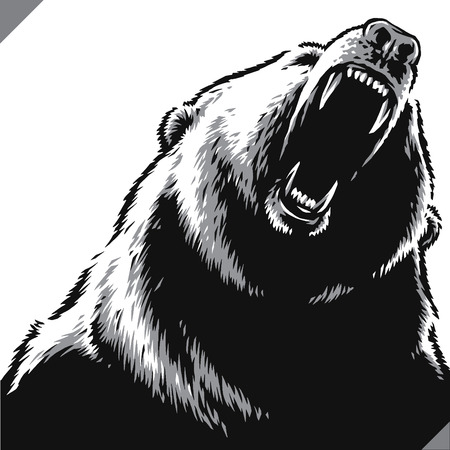 engrave isolated bear illustration vector sketch linear art Imagens - 122310589