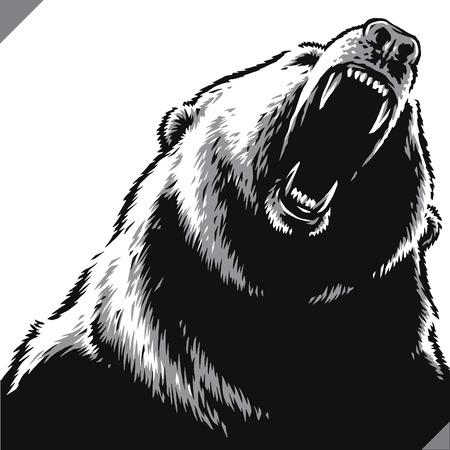 engrave isolated bear illustration vector sketch linear art 向量圖像