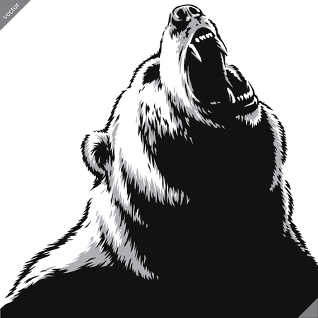 engrave isolated bear illustration vector sketch linear art Ilustração