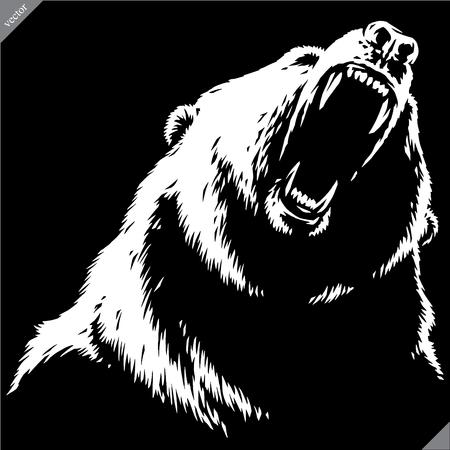 engrave isolated bear illustration vector sketch linear art Imagens - 122310631