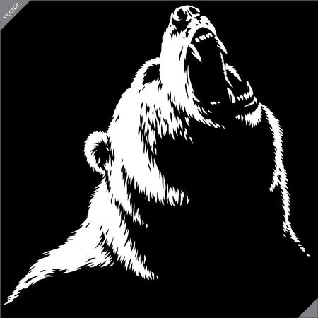 engrave isolated bear illustration vector sketch linear art Imagens - 122310630