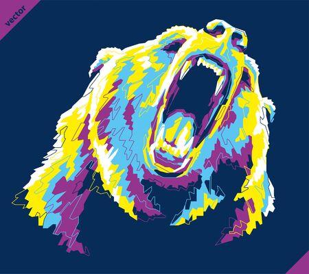 Pop art portrait of agressive bear. Vector illustration