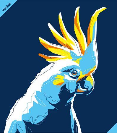 Pop art portrait of tropical parrot. Vector illustration art