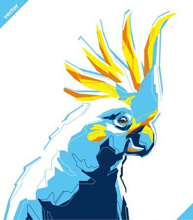 Pop art portrait of tropical parrot. Vector illustration