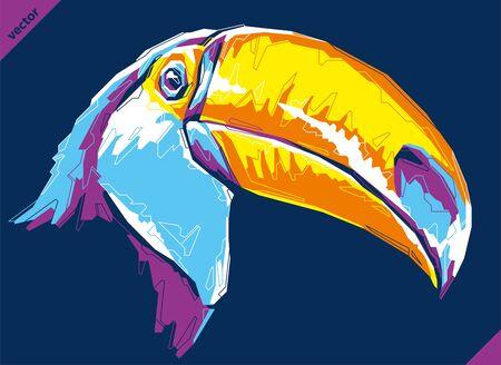 Pop art portrait of exotic toucan. Vector illustration