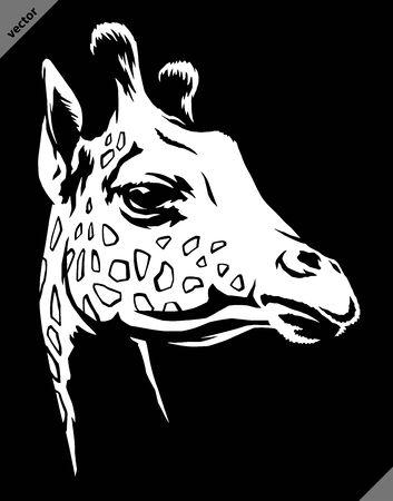 black and white linear paint draw giraffe illustration art Stock fotó