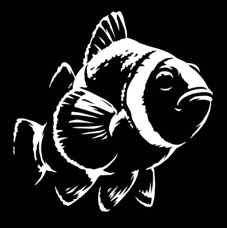 black and white linear paint draw clown fish illustration art Stock fotó