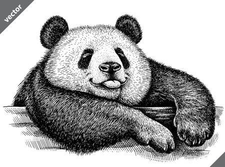black and white engrave isolated panda vector illustration Векторная Иллюстрация