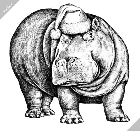black and white engrave isolated hippo illustration art