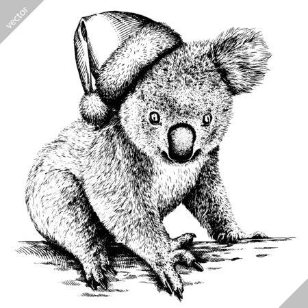 black and white engrave isolated Koala art