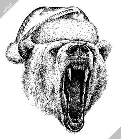 black and white engrave isolated white bear illustration