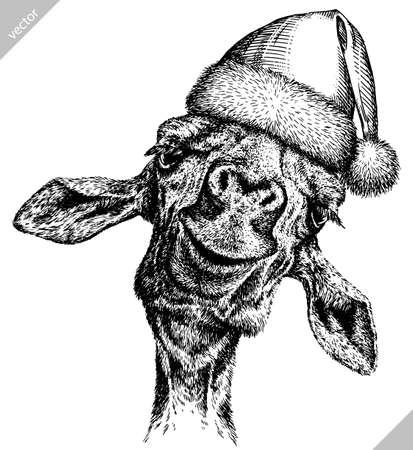 black and white engrave isolated giraffe vector illustration 矢量图像