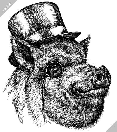 black and white engrave isolated pig vector illustration Illustration