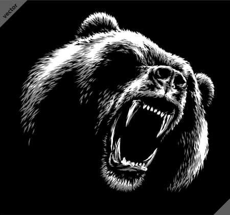 black and white linear draw bear vector illustration Ilustración de vector