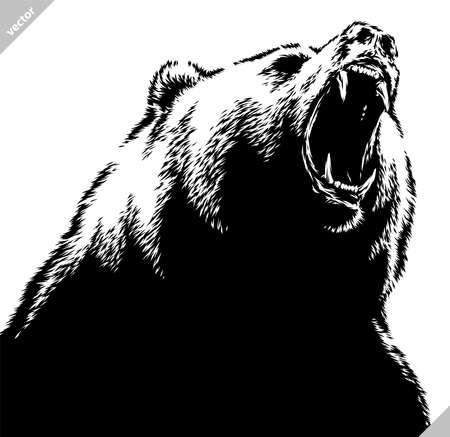 black and white linear draw bear vector illustration Standard-Bild - 156392233