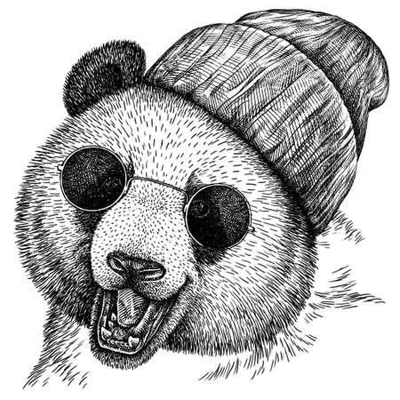 black and white engrave isolated panda illustration Standard-Bild