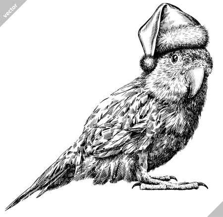 black and white engrave isolated parrot vector illustration Ilustração