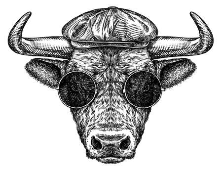 black and white engrave isolated bull illustration