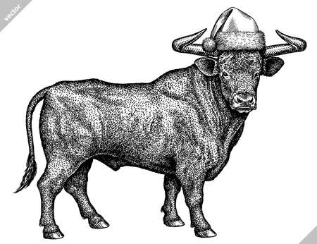 black and white engrave isolated bull vector illustration