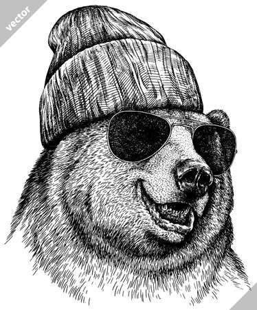 black and white linear paint draw bear vector illustration Ilustração