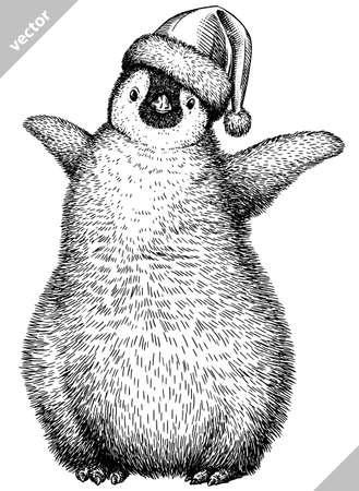 black and white penguin vector illustration Illustration