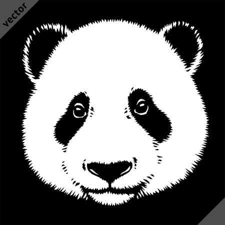 black and white linear paint draw panda vector illustration art
