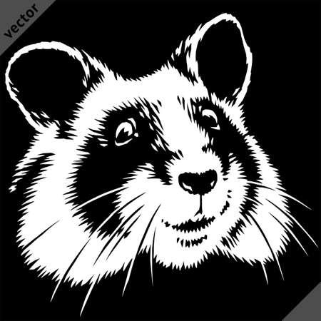 black and white linear paint draw hamster vector illustration art Illustration