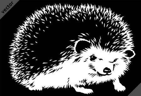 black and white linear paint draw hedgehog vector illustration art Illustration