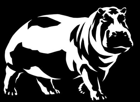black and white linear paint draw hippo illustration art