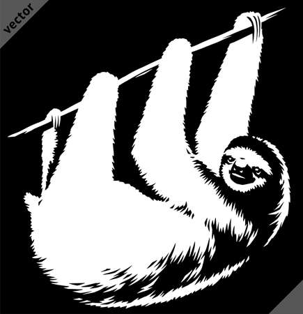 black and white linear paint draw sloth vector illustration art  イラスト・ベクター素材