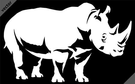 black and white linear paint draw rhino vector illustration art Illustration