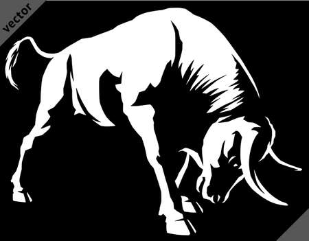black and white linear paint draw bull illustration vector art