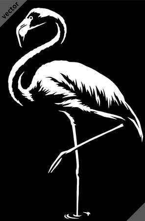 black and white linear paint draw flamingo vector illustration art