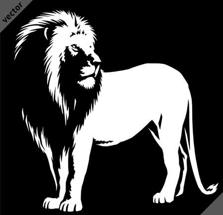 black and white linear paint draw lion illustration art