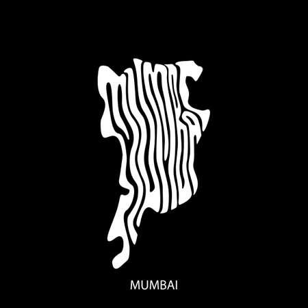 Mumbai calligraphy map. Mumbai written in mumbai's map shape.