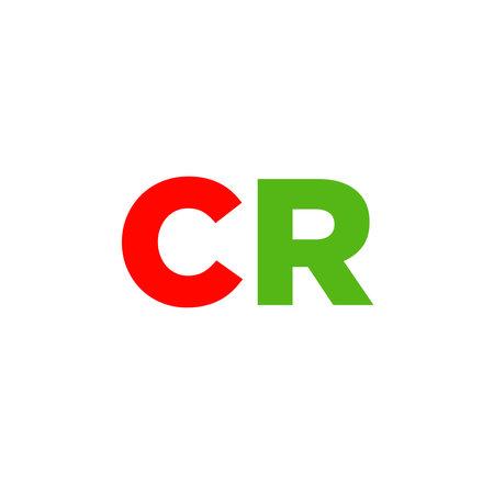 Letter CR on white background