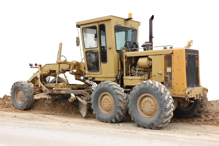 Grader road construction equipment, on white background