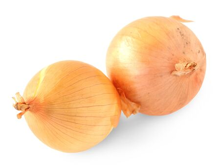 Yellow onions on white background  Stock Photo