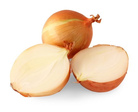Yellow onions on white background with clipping path included