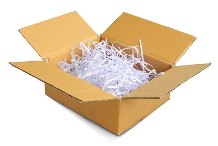 Scrap paper in the brown box on White Background