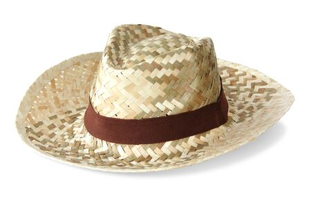 Straw hat on white background Stock Photo