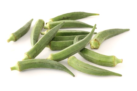 Okra or ladies fingers on white background