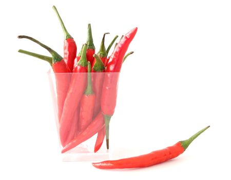 Red chillies on white background Stock Photo - 15309741