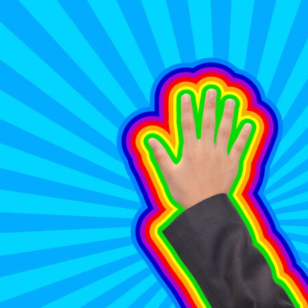 The hand touch screen colorful rainbow Stock Photo - 16040459