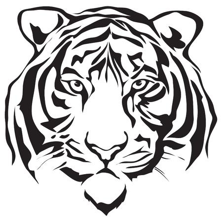 tigre caricatura: Cabeza del tigre silueta dise�o