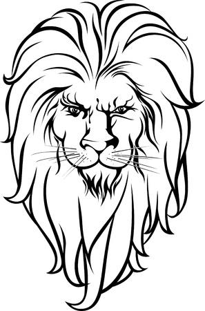 Lion Head Blanco y Negro Diseño. Foto de archivo - 16040464