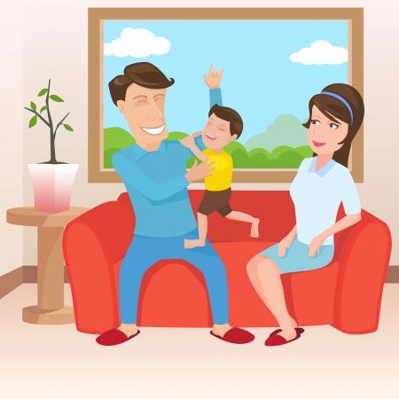 planificaci�n familiar: Familia feliz en sala de estar, ilustraci�n de dise�o vectorial.