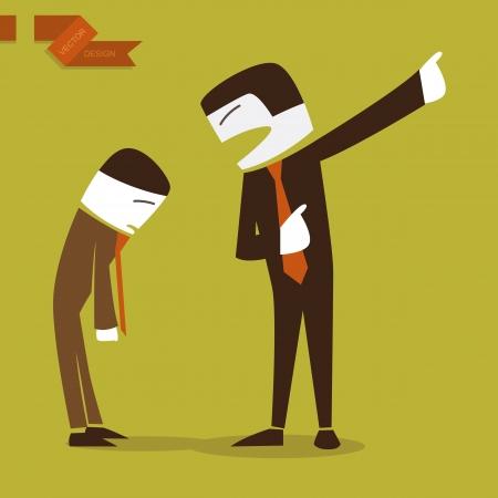 subordinate: boss scolded, illustration by vector design, vector illustration.